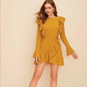Flounce sleeve goldenrod yellow dress-s